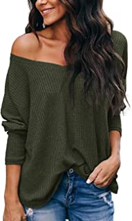 Womens Long Sleeve Tops V Neck Off The Shoulder Casual Pullover Sweater