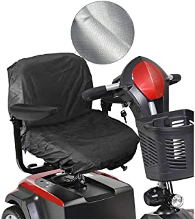 AOLVO Scooter Seat Cover, 210D Oxford Motorized Wheelchair Seat Cover with Magtic Tape Strap Waterproof Elasticity Electric Scooter Seat Cover - 35.4 in X 18.1 in - Black