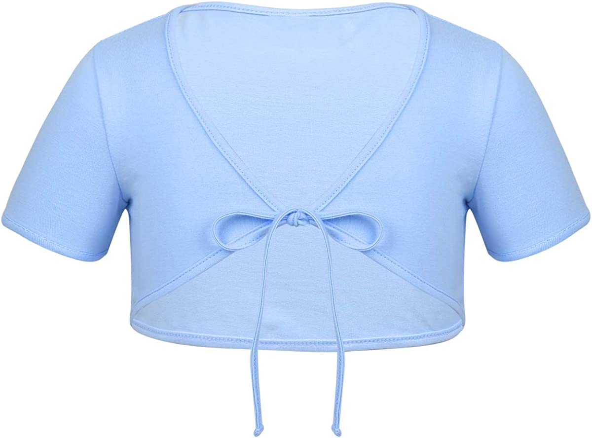 ACSUSS Kids Girls Classic Cotton Sale Special Price Knit Outlet sale feature Wrap Bal Tops Short Sleeve