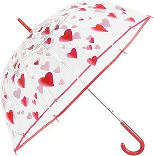 Paraguas Transparente Mujer Estampado Corazones Rojos - Paraguas Clásico de Burbuja Cupula Automatico Fantasia a la Moda - POE Resistente Antiviento - 89 cm Diámetro - Perletti