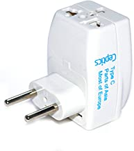 Ceptics 3 Outlet Travel Adapter Plug Type C for Most of Europe, Turkey