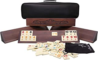 Antochia Crafts Wooden Rummy Cube - Hand Carved Beautiful Motifs Okey Game - Complete Set