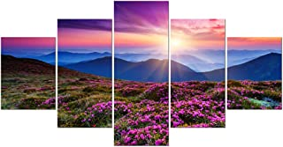 Wieco Art 5 Piece Giclee Canvas Prints Wall Art Large Modern Gallery Wrapped Mountains in Sunrise Artwork Purple Landscape Pictures Paintings Ready to Hang for Bedroom Dining Room Home Decorations L