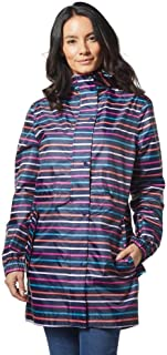 Joules Womens Golightly Golightly Waterproof Dog Print Packable Rain Jacket with Hood Hooded Long Sleeves Rain Jacket