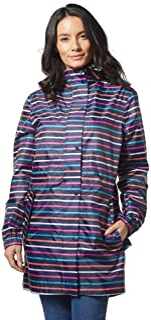 Joules Womens Golightly Golightly Waterproof Dog Print Packable Rain Jacket with Hood Hooded Long Sleeves Rain Jacket