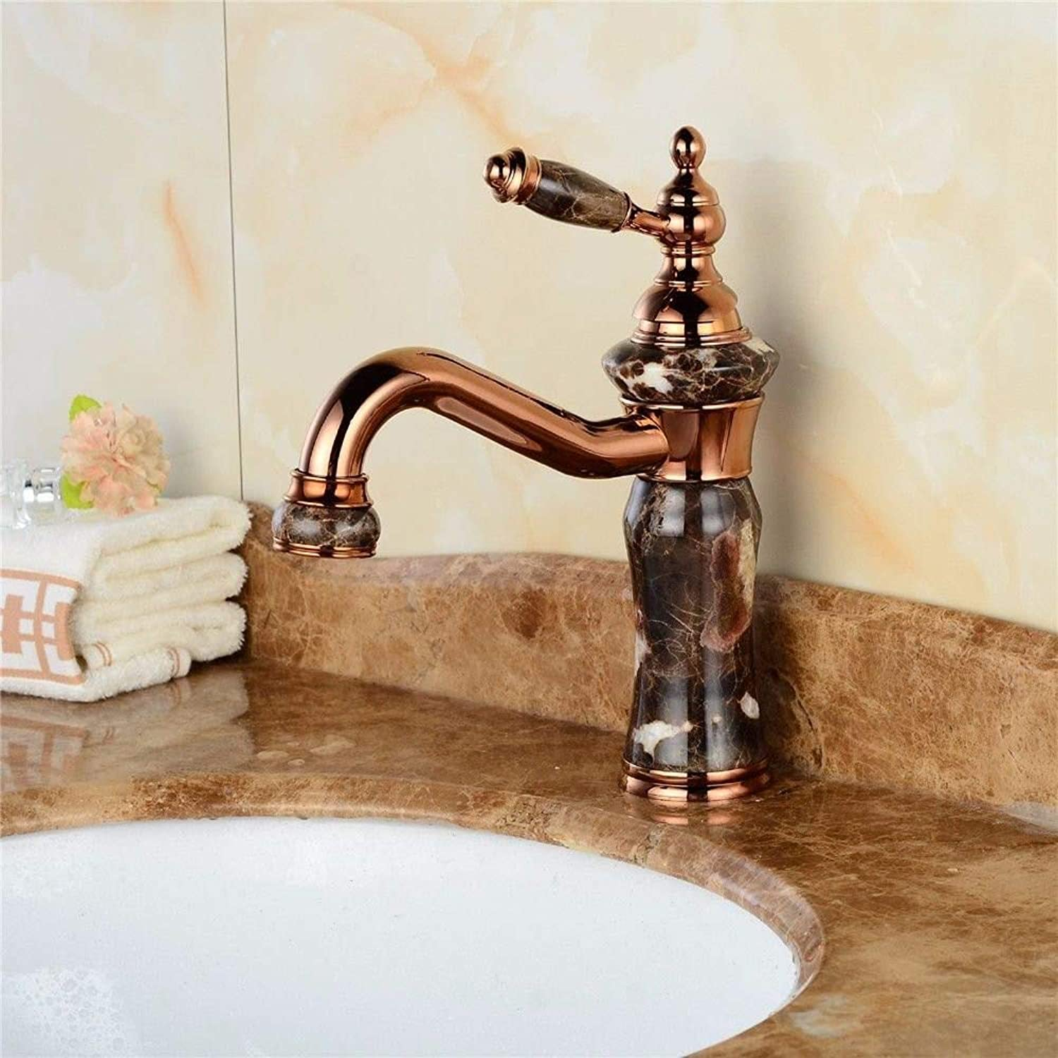 Modern simple copper hot and cold kitchen sink taps kitchen faucet Copper antique faucet antique gold-plated jade faucet marble basin hot and cold water faucet