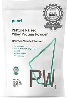 Puori - PW1 Whey Protein Powder - Grass Fed, Non-GMO, Only 5 Natural Ingredients, 21g Protein, Vanilla, 1.98lbs