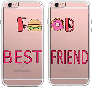 TRFAEE Couples Matching Cases Best Friends BFF Foodies Hamburger and Doughnut Food Lovers Clear Soft TPU Rubber Protective Case Cover for iPhone 7 Plus and iPhone 8 Plus