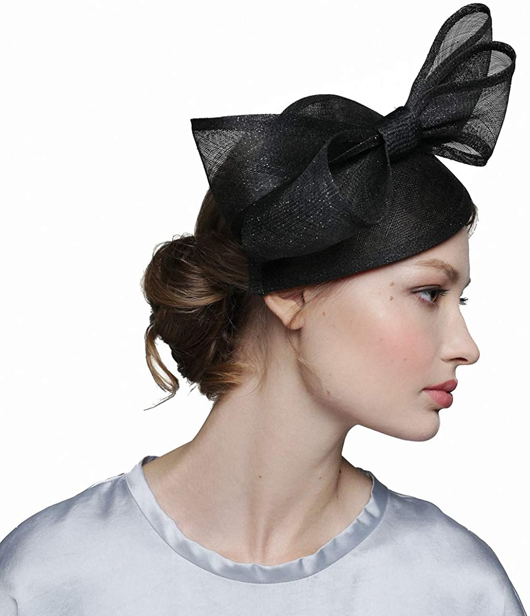 Black Silver Glitter Fascinators Hat for Women Tea Party Wedding Derby Headwear