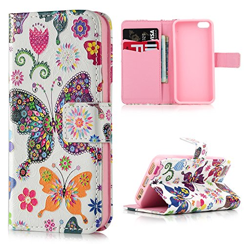 iPhone SE 5S 5 Case ,Lanveni 3D Relief Colorful Painting Cameo Flip Stand Cover Basso-Relievo PU Leather Wallet Shell Book Style Skin Pouch [Magnetic Closure] + Card Slots Protective Pocket For iPhone SE & iPhone 5S & iPhone 5 ,Butterflies
