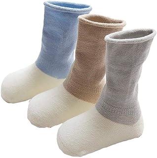 Da.Wa, Da.Wa 3 Pares Calcetines Gruesos para Bebés Calcetines Largos de Algodón Suela Antideslizantes para Niños Recién Nacidos Invierno Cálidos Suaves y Cómodos (S 6-12 meses)