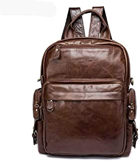 Mens Leather Bag Men Cowhide Travel Bag Large Capacity Genuine Leather Fashion School Bag Laptop Backpack Bag (Color : Brown, Size : S)