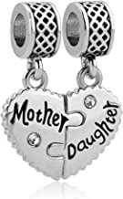 LovelyCharms Mother Son Daughter Heart Charm Set Dangle Bead Fits European Bracelets