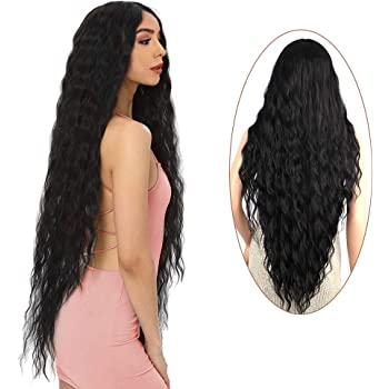 """FORCUTEU38"""" Long Curly Wig Middle PartBlack Color Wigs For Women Super Long Water Wavy Ripple Synthetic Hair Wig Soft Wavy Fluffy Curly Wig Heat Resistant"""