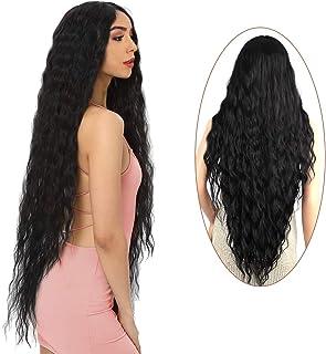 "FORCUTEU 38"" Long Black Wig for Women Long Black Curly Wig Long Black Synthetic Wig Super Long Black Water Wavy Wig Soft W..."