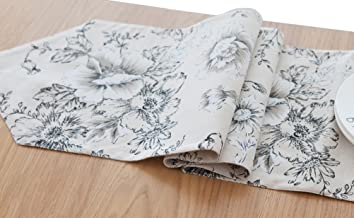 LivebyCare Double-Sided Flowers Printing Table Runner Scales Printed Cotton Linen Fabric Table Decoration for Dinner Table, Coffee Table 12 x 78 Inches