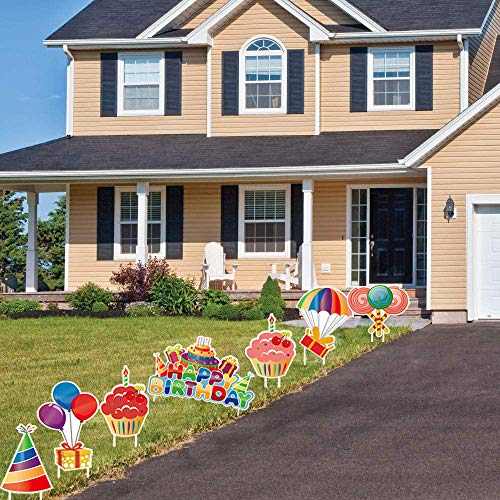 CHOiES record your inspired fashion GFT 7 Pack Colorful Happy Birthday Yard Signs with Stake Cupcake Balloons Yard Signs Birhtday Outdoor Lawn Signs Outdoor Party Decorations