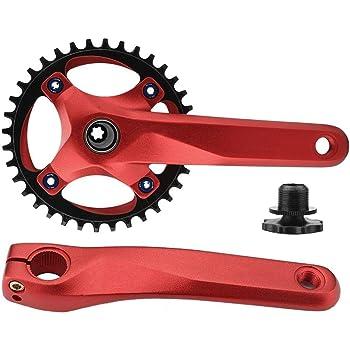 Keenso Conjunto de Bielas para Bicicleta, Plato Aleación de Aluminio y 2 Brazos de Las Bielas(Rojo): Amazon.es: Deportes y aire libre