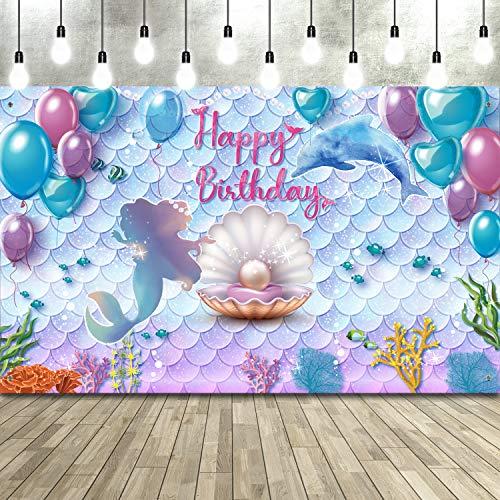 Telón de Fondo de Fiesta de Cumpleaños de Sirenita Bajo el Mar Telón de Fondo de Fotomatón de Cumpleaños de Princesa Sirena Bandera de Fondo de Púrpura Azul Sirena Perla Ballena, 71 x 43 Pulga