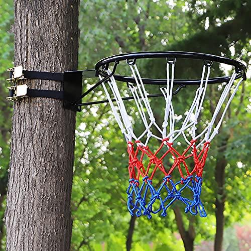 Aro de Baloncesto Canasta Tableros Niños Adultos Aro de Baloncesto con 2 Correas, 45cm Acero Borde de Baloncesto por Árboles Polacos Interior Exterior Gran Regalo Deportivo