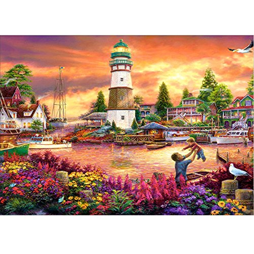MXJSUA DIY 5D Diamond Painting by Number Kits Full Round Drill Rhinestone Picture Craft for Home Wall Decor 12x16In Water Town