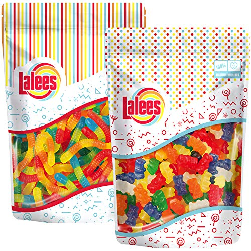 Lalees SUGAR FREE Gummy Bears and Sugar Free Gummy Worms - 2 Pack of 1 Pound Each - Bulk Sugar Free...