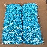 Woopower Lot de 144 petites roses en mousse artificielle de 2,5cm pour travaux manuels, bouquet, mariage, décoration d'intérieur, bleu, free size
