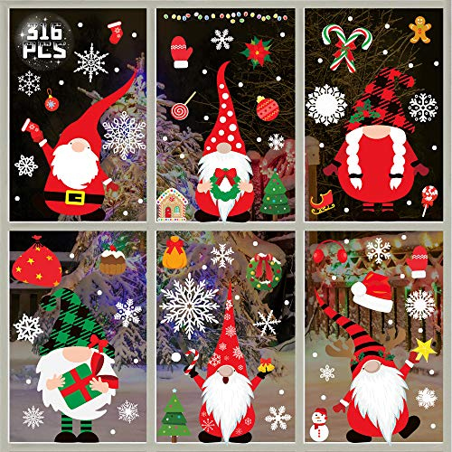Party-poter Christmas Window Stickers,316pcs Christmas...