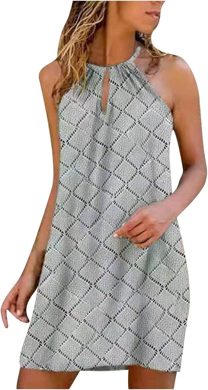 Tavorpt Summer Dresses for Women Casual Halter Neck Sleeveless Print Floral Mini Dress Party Beach Sundress