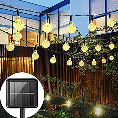 LECIEL Solar Powered String Lights Outdoor, 50 LEDs 24 FT Crystal Globe Lights with 8 Modes, Waterproof Solar Patio Outside Lights for Garden Yard Home Wedding Party Decoration(Warm White)