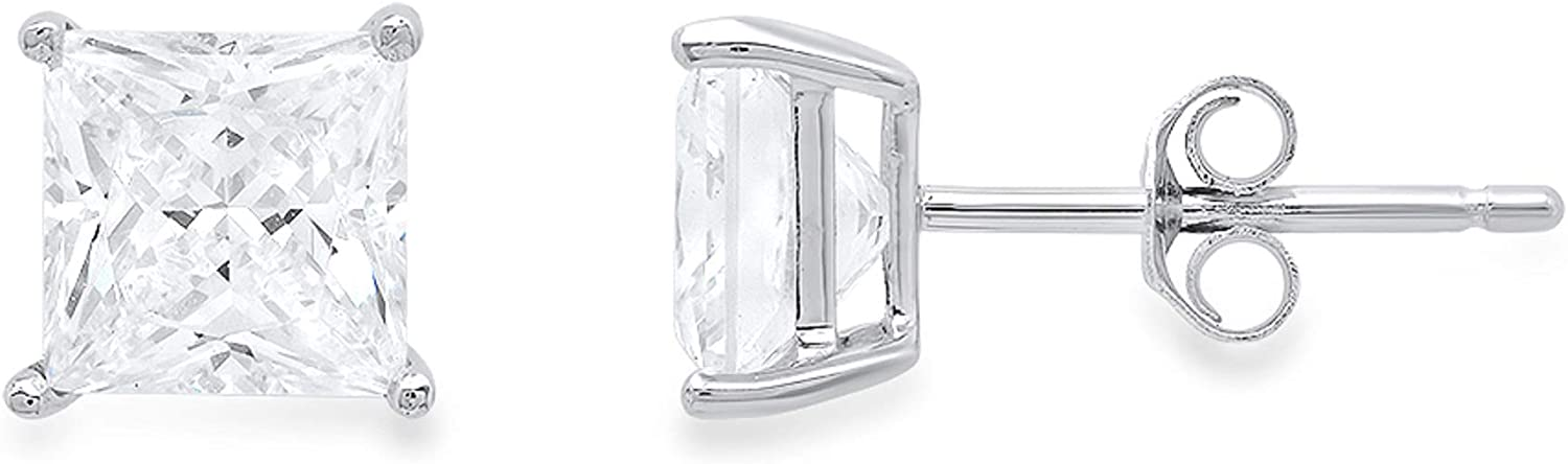 4.0 ct Princess Cut ideal VVS1 Conflict Free Gemstone Solitaire White Lab Created Sapphire Designer Stud Earrings Solid 14k White Gold Push Back