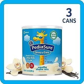 PediaSure Grow & Gain Non-GMO Shake Mix Powder, Nutritional Shake For Kids, With Protein, DHA, Antioxidants, and Vitamins & Minerals, Vanilla, 14.1 oz, 3-Count