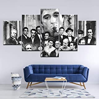TRDT Modern Canvas Art Print 5 Panel Godfather Goodfellas Scarface Sopranos Retro Picture Wall Art Painting for Home Decor,A,30X40X230X60X230X80X1