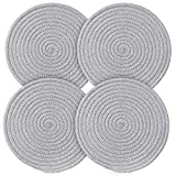 Trivet Weave Mat Round Hot Pads for kitchen Thread Potholders for Hot Dishes/Pot/Bowl/Teapot/Hot Pot, 4pack,9.5 Inches,100% Pure Cotton (Trivet 4 pack)