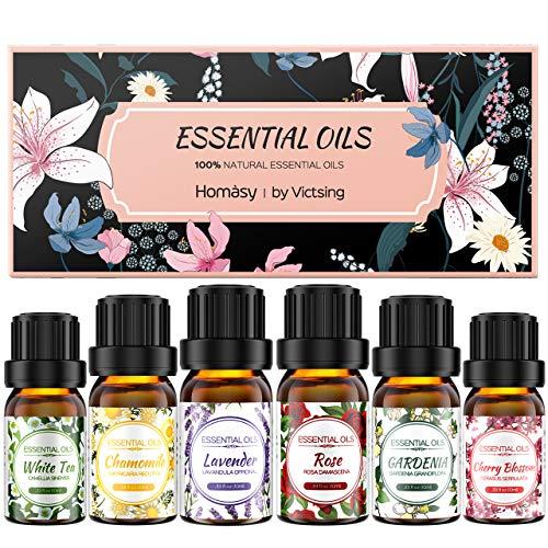Homsay 6 * 10ml Aceites Esenciales Florales, Flores Aceites Esenciales para Humidificador Difusor Aromaterapia, 100% Puro Natural Set de Regalo de Perfume de Aceites