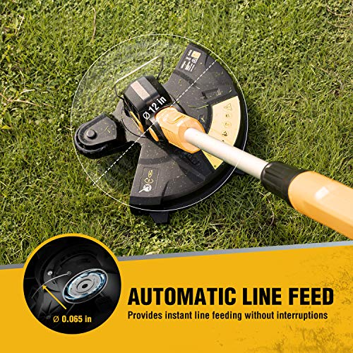 AchiForce 12-Inch Cordless Grass Trimmer, 18 V Battery-Powered String Trimmer/Edger with Automatic Feed, Electric Lawn Edger Included 2.0 Ah Battery and Charger