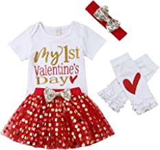 Baby Girl My First Valentine's Day Romper Bodysuits Sparkle Dots Tutu Skirt Leg Warmers with Headband