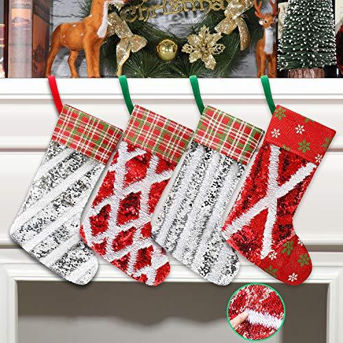 Qisiewell Weihnachtsstrumpf Doppelseitiges DIY-Paillettenmuster 4er Set 40 * 25cm Groß Weihnachtssocke Nikolaussocken Hängende Strümpfe Als Kamin Weihnachtsdeko Geschenkverpackung