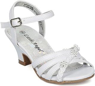 2a84cd167d4 Alrisco Girls Open Toe Rhinestone Flower Ankle Strap Kiddie Heel Sandal HC28