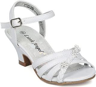 Girls Open Toe Rhinestone Flower Ankle Strap Kiddie Heel Sandal HC28 - White Leatherette (Size: Little Kid 11)
