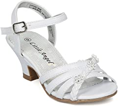 Alrisco Girls Open Toe Rhinestone Flower Ankle Strap Kiddie Heel Sandal HC28 - White Leatherette (Size: Little Kid 11)