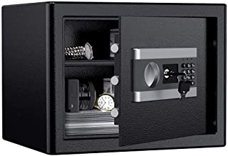 ETE ETMATE Safe Security Box, Digital Keypad and Key Lock for Cash Money Jewelry, Fireproof Waterproof Safe Cabinet with I...