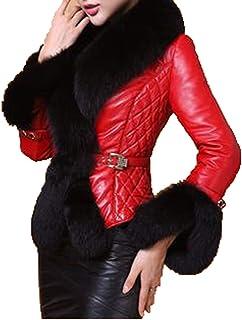BoxJCNMU Abrigo de Piel para Mujer Invierno Mujer Abrigos de Piel sintética Collares de Color Puro Cierre a presión Pieles...