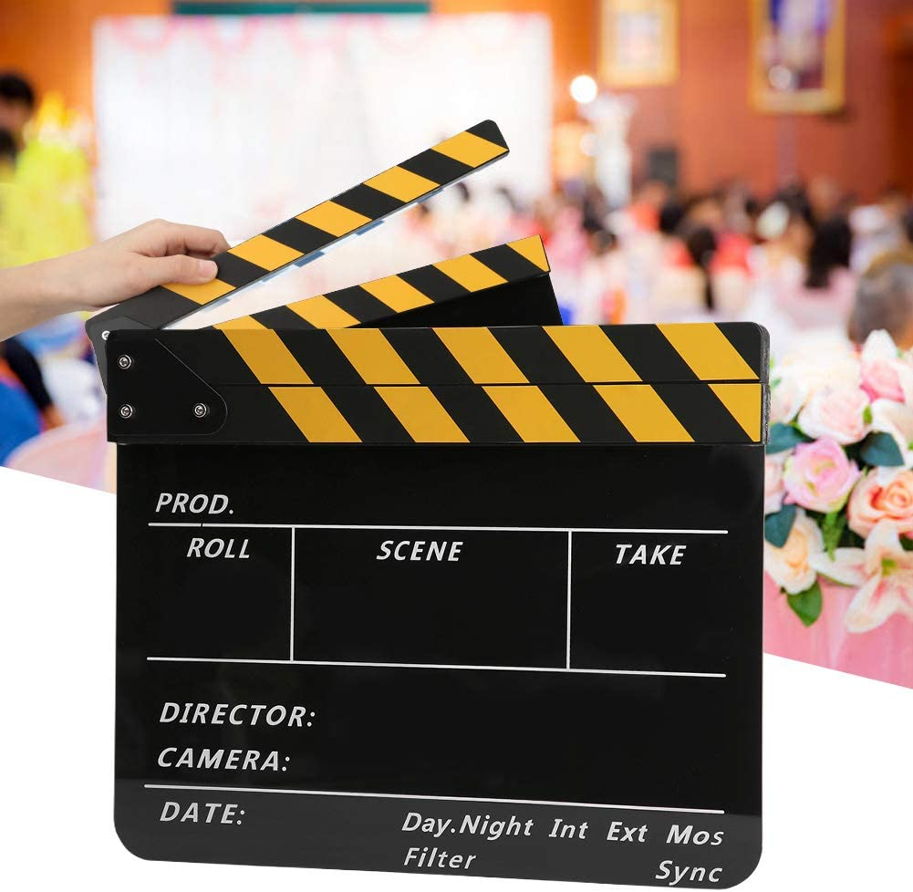 #1 riuty Film Clapperboard 30x25CM Acrylic Movie Clapperboard Professional Director Action Clap Film Photography Tool Suitable for Role Playing Editing Video Production Movie Film Camera Photography