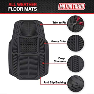 Motor Trend Armor-Tech All Weather Floor Mats, 4 Piece Set – Heavy Duty Rubber Liners for Car, Truck, SUV & Van, Black, Mo...