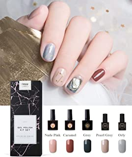 Gel Nail Polish Present Package Deluxe Set Semi-permanent UV LED Gel for Nails, Manicure Gift Kit Professional Soak-off Nail Art, 5 Colors from Nude to Grey for Work Daily Ocassions Winter Autumn