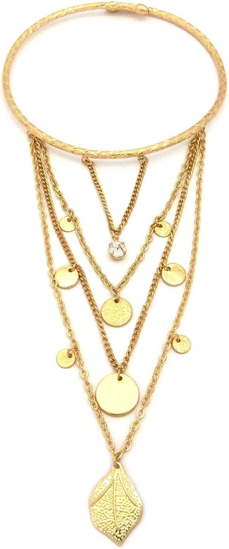 NYFASHION101 Rhinestone Stud Dangling Medals Arm Chain Cuff Bracelet in Gold-Tone