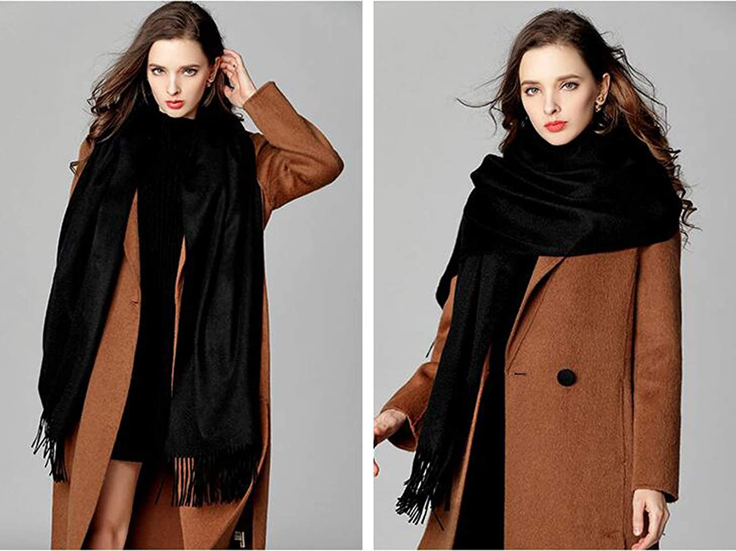 JUN Cashmere Scarf Ladies Winter Shawl Thick Warm and Soft Wild Dual Purpose (color   B)