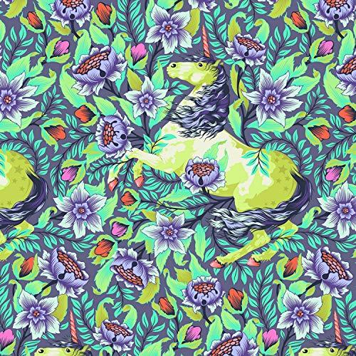 Freespirit Tula Stoffe, Pinkerville-Kollektion, 0,5 m, 100 % Baumwolle Fs73 Einhörner Floral Violett