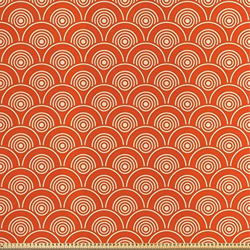 ABAKUHAUS meetkundig Stof per strekkende meter, Kimono Motieven Pattern, Decoratieve Satijn Stof voor Huishoudtextiel en kunstnijverheid, 5 m, Oranje lichtgroen Geel
